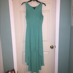 Hi-low teal dress